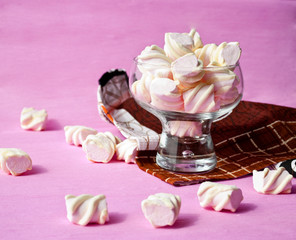 White marshmallows and pink