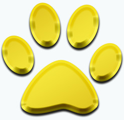 3d golden pet paw illustration