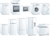 Home appliances vector illustrations set