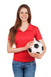 Cute girl holding a soccer ball