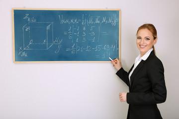 Portrait of teacher woman writing on the chalkboard in