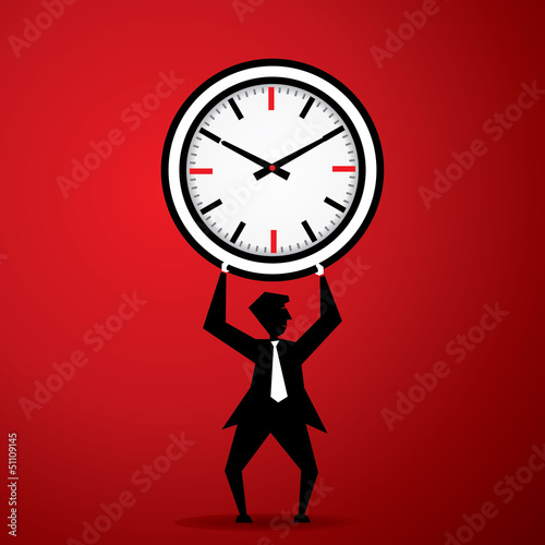 Big clock on man stock vector