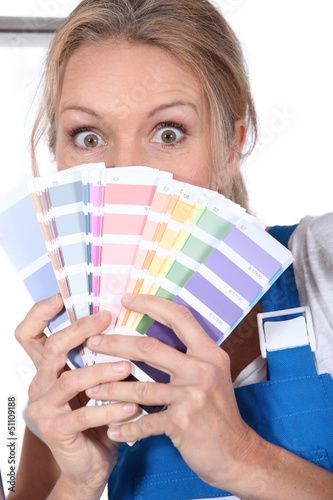 Painter with color samples