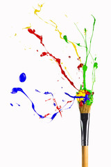 Explosion of paint on the paintbrush