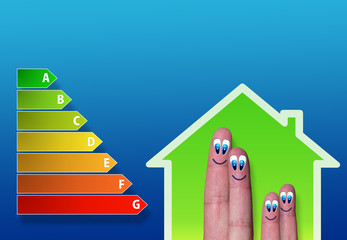 low-power house and energy chart and cute fingers inside