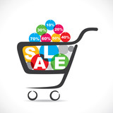 sale text in shopping cart  stock vector
