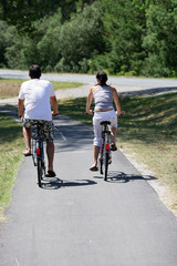 Man and woman having a bike ride
