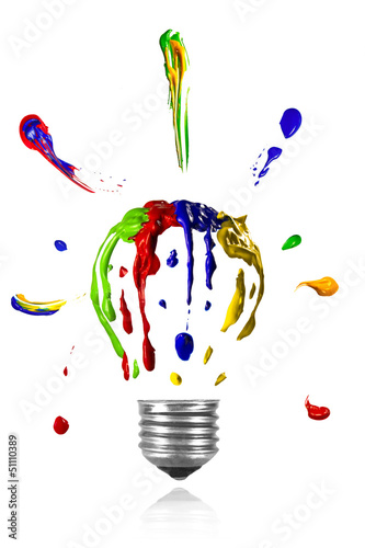 Painted light bulb with paint around