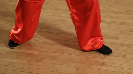 female martial artists in the room - legs closeup