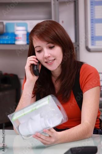 Woman ordering plumbing parts