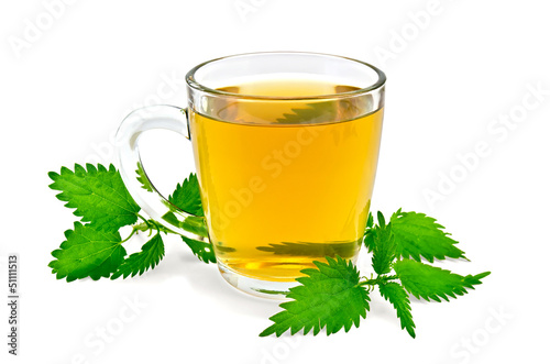Herbal tea in a mug with nettles