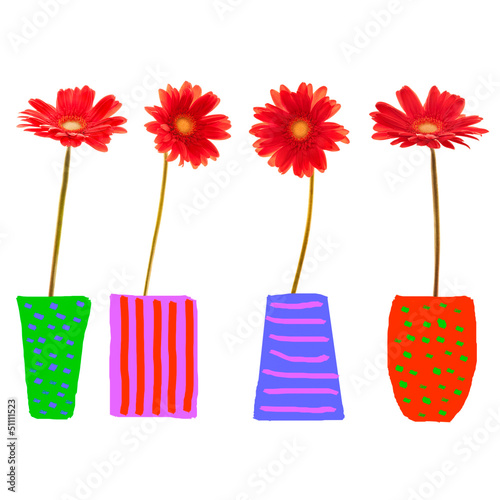 Gerberas rouges, pots dessinés