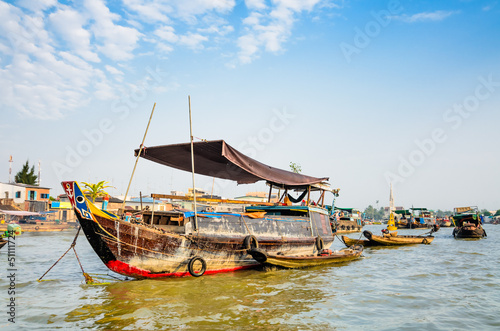 Trading boats on Cai Be Floating Market, Mekong Delta, Tien Gian