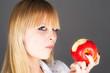 beautiful blond biting the apple