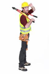 Tradesman giving a salute