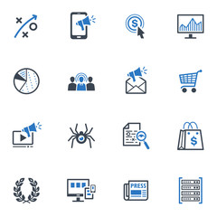 SEO & Internet Marketing Icons - Set 3 | Blue Series