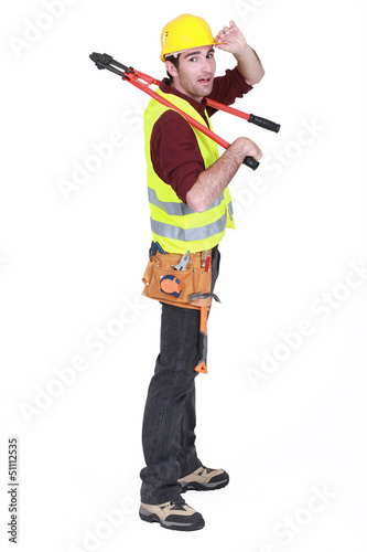 Tradesman giving a salute