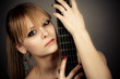 beautiful girl with a guitar fretboard