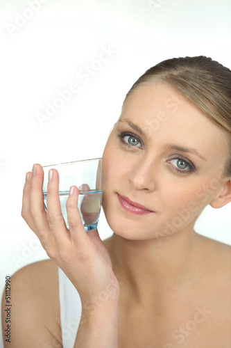 Young woman healthy with glass of water