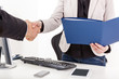 canvas print picture - Businesswoman with briefcase man shakes the hand