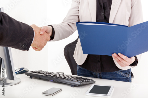 canvas print picture Businesswoman with briefcase man shakes the hand