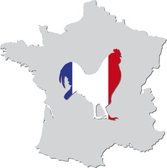 Frankreich mit Hahn