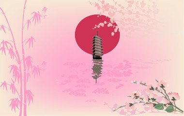 pink illustration with pagoda and reflection