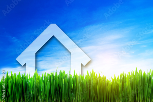 New house perspective on green sunny field