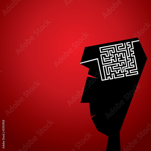 maze in head concept stock vector
