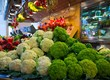 Choice of cauliflowers on market's counter