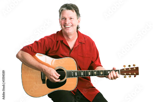 Guitarist Isolated on White