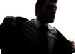 Businessman portrait silhouette getting ready