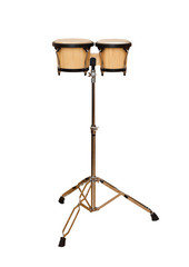 Bongos on a stand on a white background
