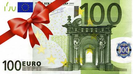 100 Euroschein mit rotem Band und Schleife