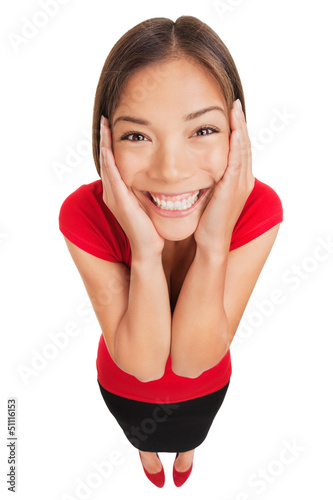 Happy woman overcome with joy