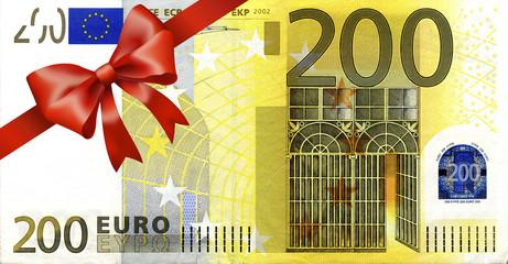 200 Euroschein mit rotem Band und Schleife
