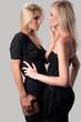 two women blonde in elegant dresses