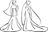 brides- vector line drawings