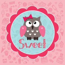 carte de bébé avec owlet mignon sur le fond de bonbons
