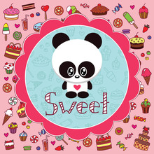 Baby card with little panda against the background of sweets