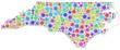 Map of North Carolina - Usa - in a mosaic of harlequin bubbles