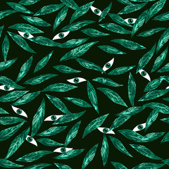 Eyes among the leaves seamless pattern