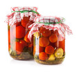 Canned Tomatoes in Glass Jar isolated on white background