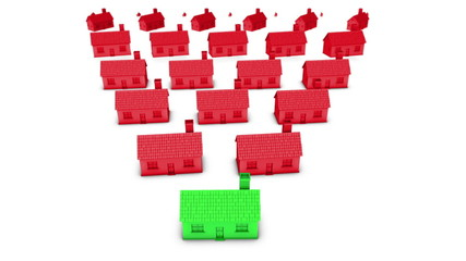 3D house symbol of buying the right house concept