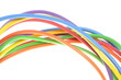 The electric colored wires used in electrical and computer netwo