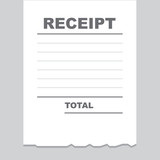 Blank receipt printout with torn bottom edge