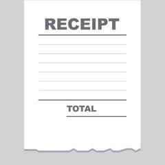 Blank receipt printout with torn bottom edge