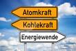 Wegweiser mit Atomkraft, Kohlekraft und Energiewende