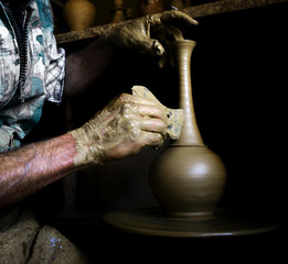 A potter's hands at work