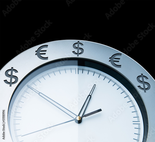 Currency clocks isolated on black